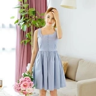 Button Point A-Line Dress