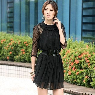 59th Street - Set: Lace-Top Chiffon Dress + Belt
