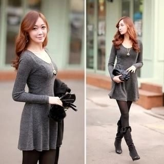 Envy Look - Scoop-Neck A-Line Knit Dress