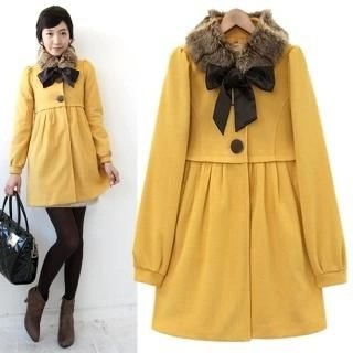 Button Front Coat with Detachable Faux Fur Collar