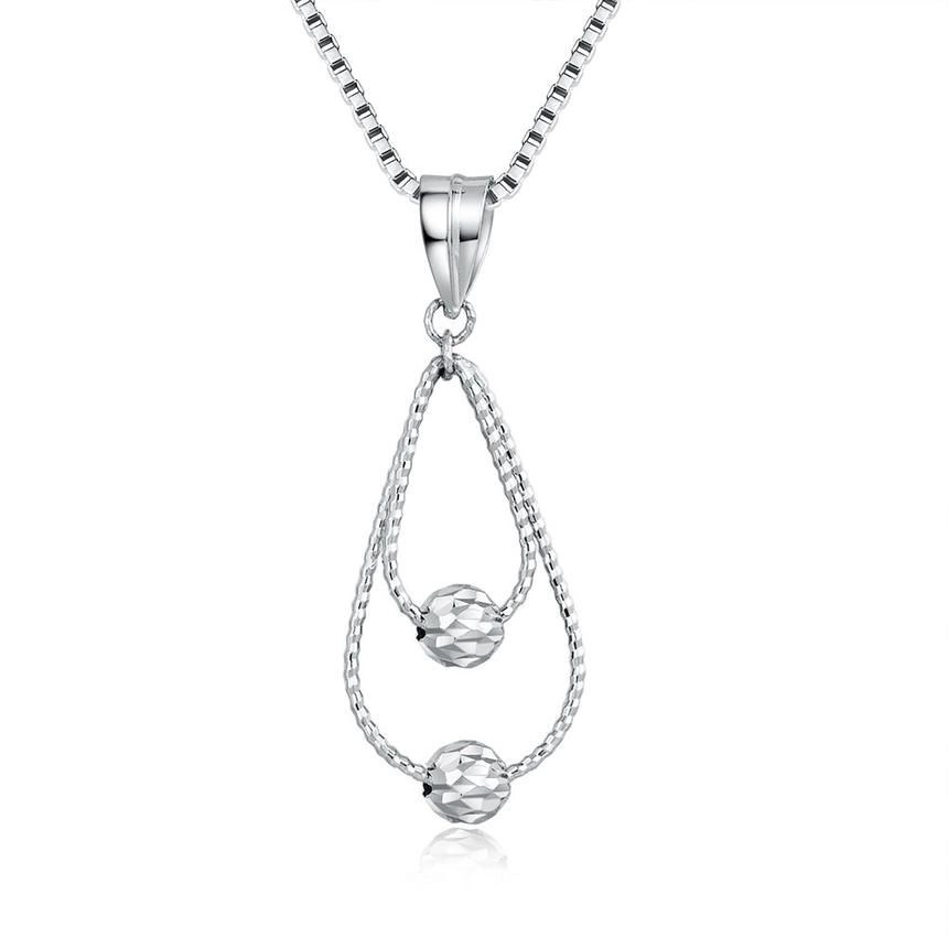 MaBelle 14ct White Gold Diamond-Cut Double Teardrop with