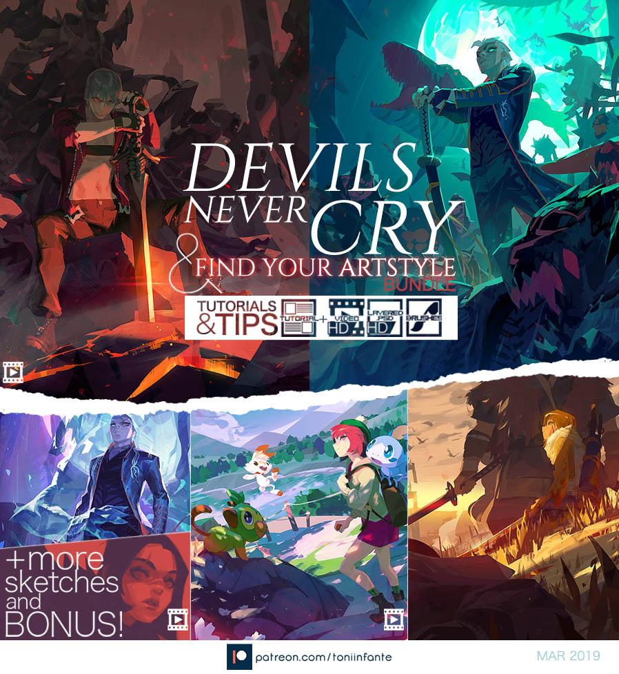 动漫数字绘图插画教程 Devils & ArtStyle BUNDLE by Toni Infante – Gumroad-小柚妹站
