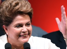 Re-elected Brazilian President Dilma Rousseff delivers a speech following her win, in Brasilia on October 26, 2014. Leftist incumbent Dilma Rousseff was re-elected president of Brazil, the country's Supreme Electoral Tribunal said, after a down-to-the-wire race against center-right challenger Aecio Neves. Rousseff, who had 51.45 percent of the vote with 98 percent of ballots counted, was declared the run-off winner.   AFP PHOTO / EVARISTO SA        (Photo credit should read EVARISTO SA/AFP/Getty