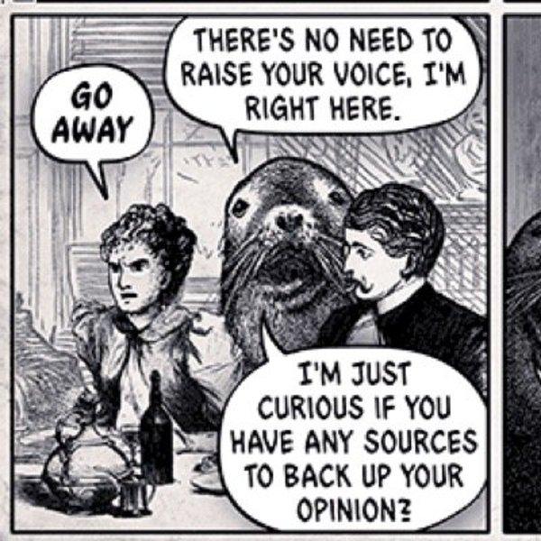 A comic depicting a jerk sea lion interrupting people.