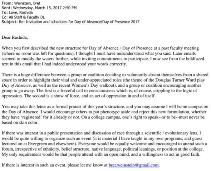 Bret Weinstein's Letter To Rashida Evergreen State