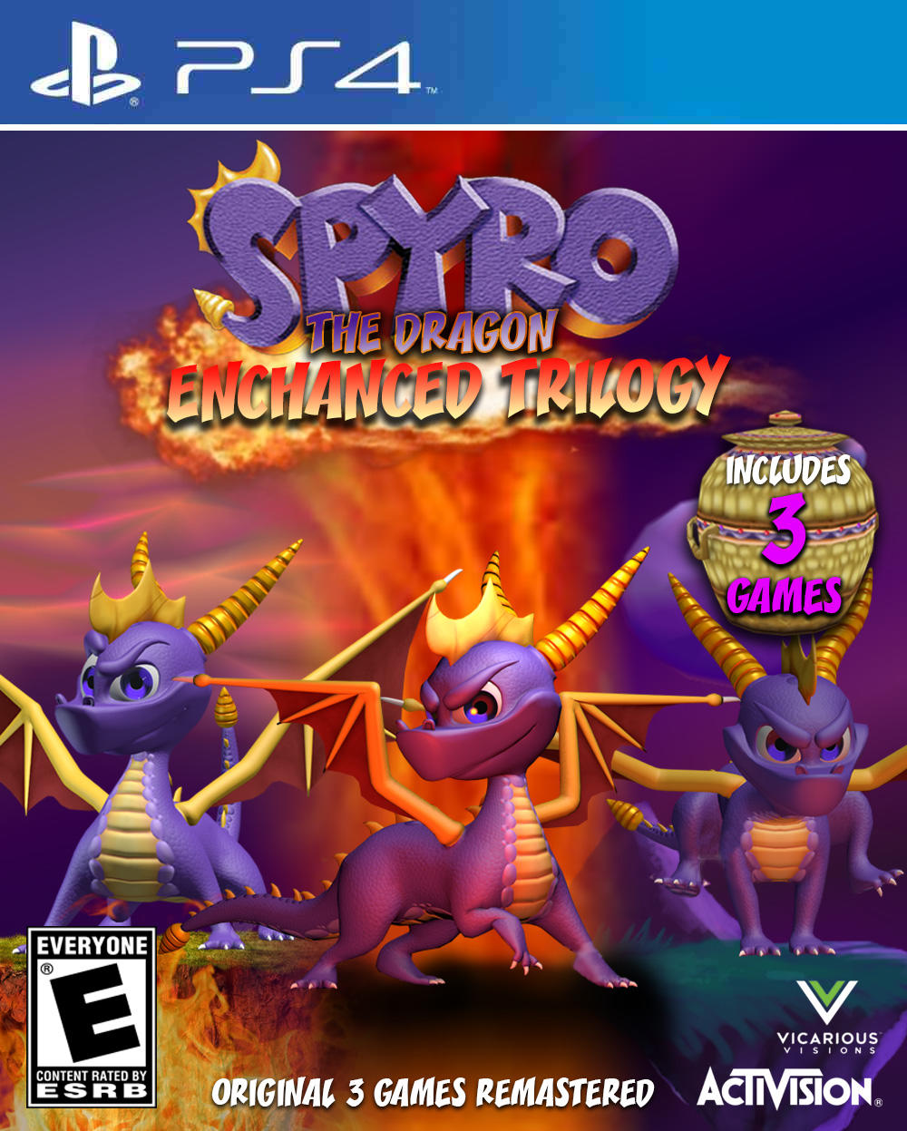 Spyro The Dragon Enchanced Trilogy PS4 Cover  Gaming  Know Your Meme