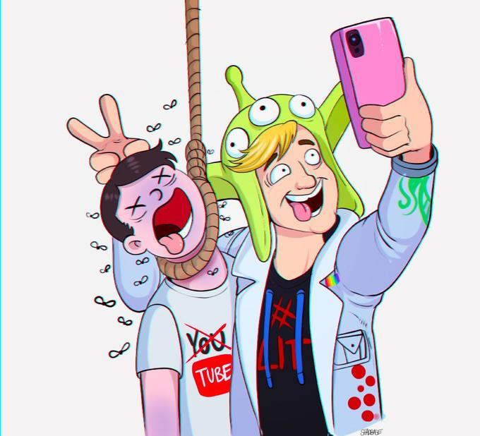 Image result for logan paul suicide cartoon