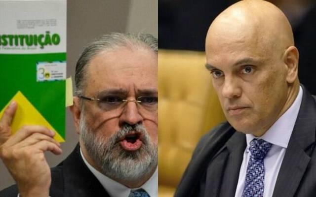 Augusto Aras à esquerda e Alexandre de Moraes à direita