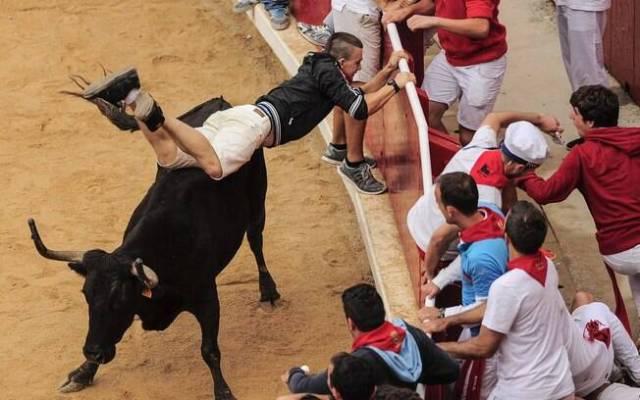Homem tenta se proteger durante tourada no festival de São Firmino, em Pamplona, Espanha (14/7)