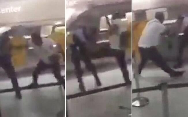 Passageiro teria iniciado discussão em balcão de informações e partiu para agressão ao ser aboradado por agentes da polícia