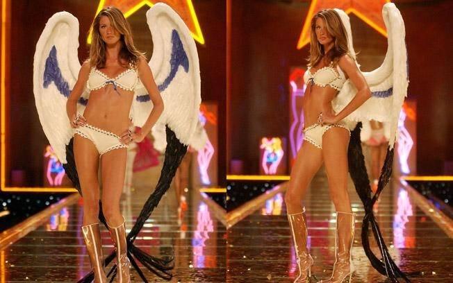 Gisele em seu primeiro desfile para a grife Victoria's Secret, em 2000. Com asas de um anjo que ela realmente é . Foto: GettyImages