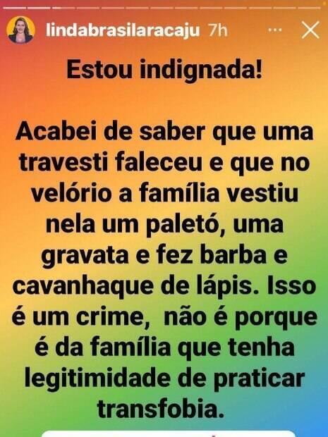 Linda Brasil sobre enterro da travesti Lana