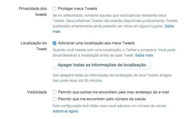 Usuário pode definir como as pessoas o encontrarão e quem terá acesso aos seus tweets