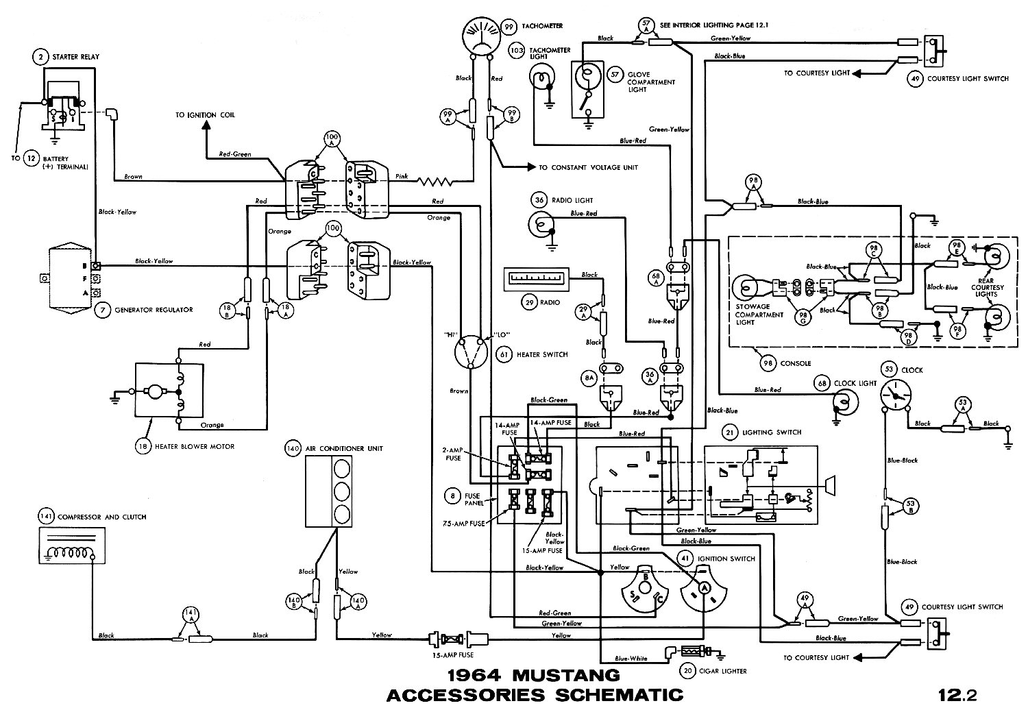 1964 mustang accessories pictorial or schematic basic electronics 1964 1 2 mustang fuse box diagram [ 1500 x 1036 Pixel ]
