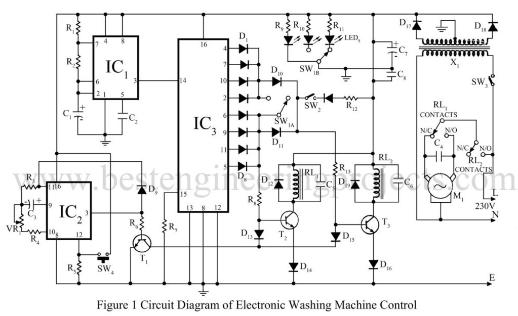 electronic timer circuit for washing machine