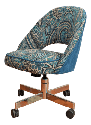 Vintage Knoll Style Desk Chair Mod Paisley Office Chair Chairish