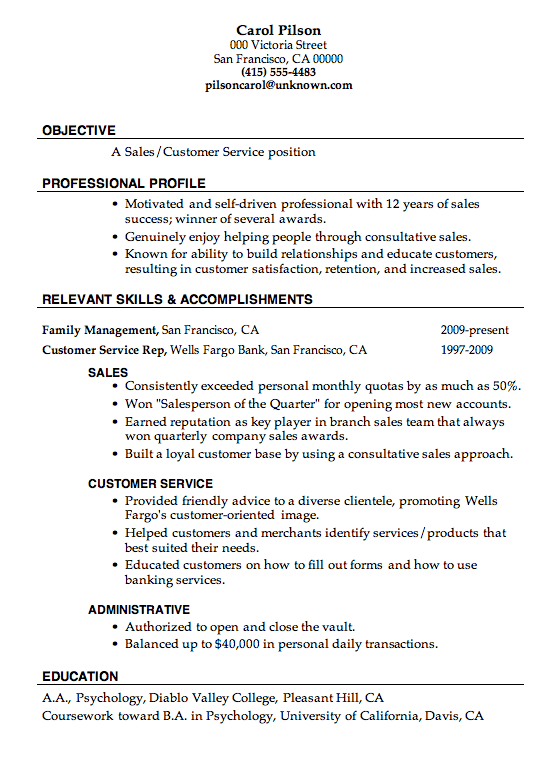 Objective Resume Customer Service Resume Sample Sales Customer