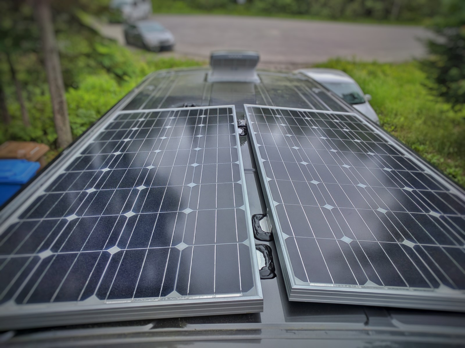 how to install solar panels on a camper van conversion with 3m vhb tape no holes  [ 1600 x 1197 Pixel ]