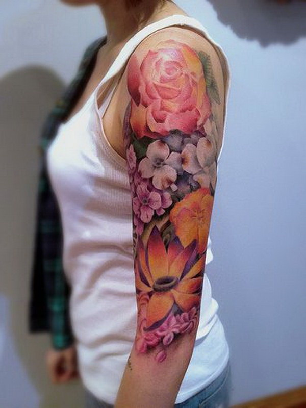 Womens Lotus Flower Half Sleeve Tattoo