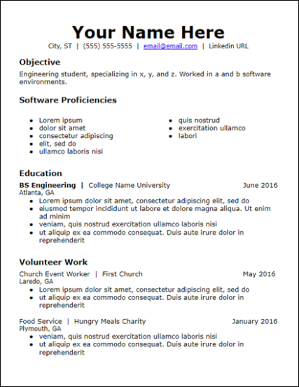 Sample Resume With No Work Experience | The Best Template