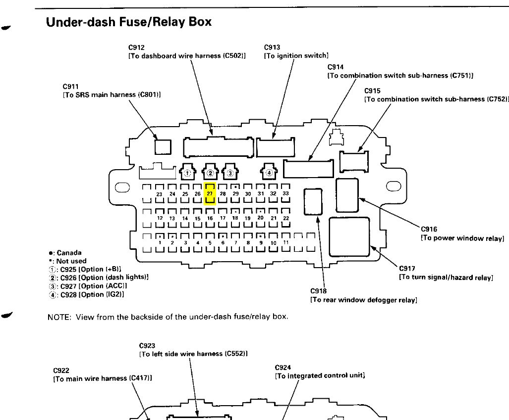hight resolution of fuse box layout on 2000 crv honda tech