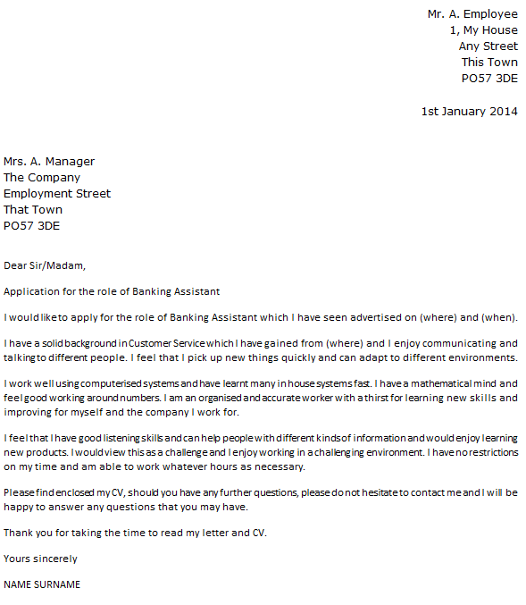 Banking Assistant Cover Letter Example  icoverorguk