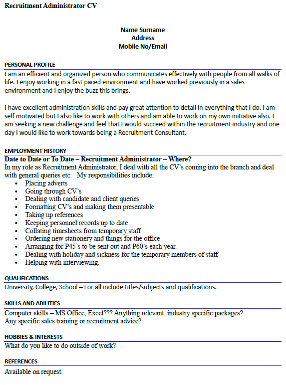 Recruitment Administrator CV Example Icover Org Uk