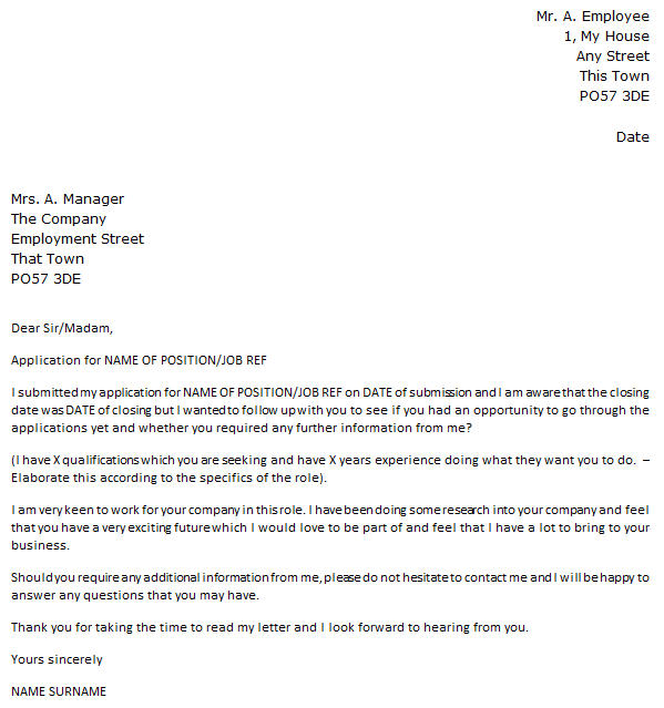 Follow Up Letter Example After Job Application Icover Org Uk