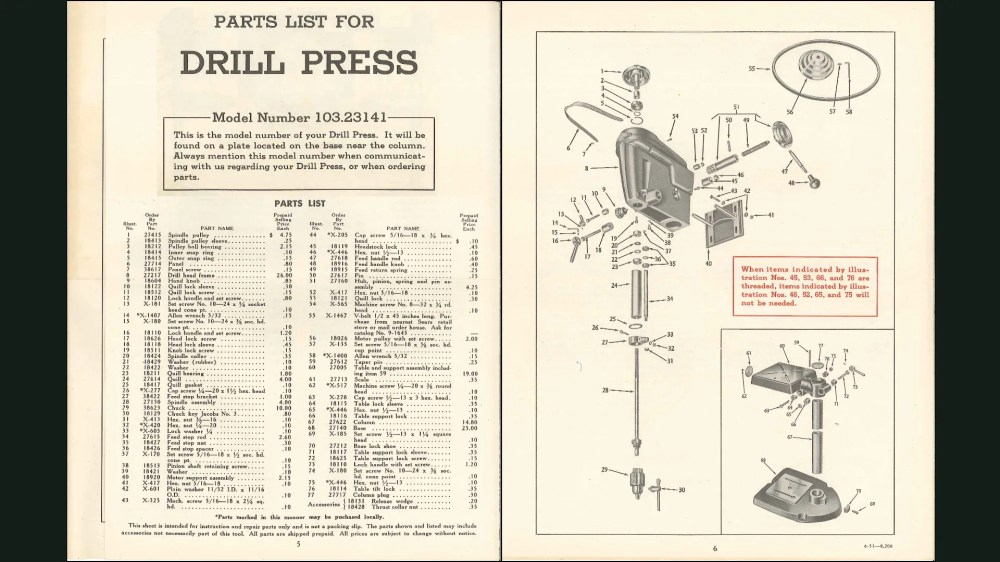 medium resolution of parts list and exploded diagram for craftsman 103 23141 model 100 drill press