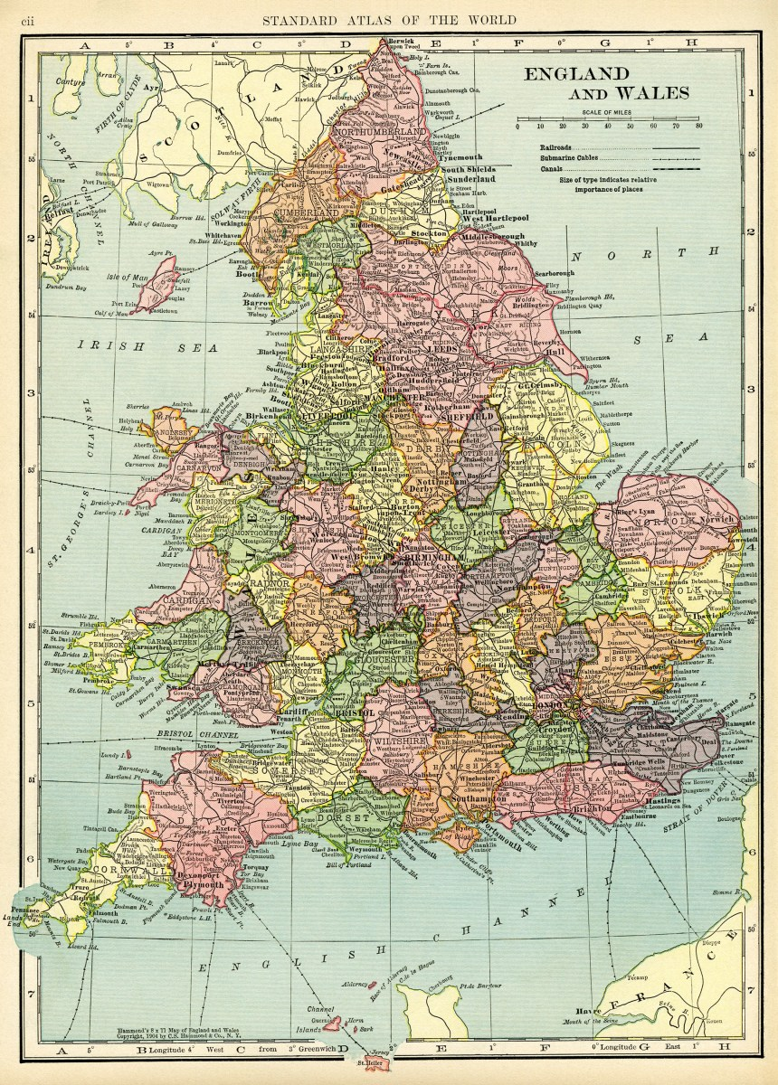 Map of England and Wales Free Vintage Image Old Design
