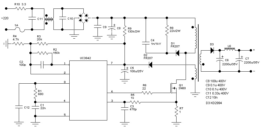 free circuit diagram self switching power supply [ 1280 x 720 Pixel ]