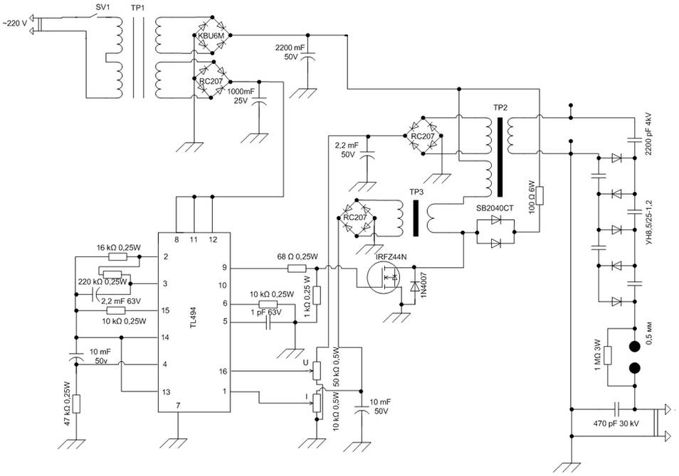 3000w Inverter Wiring Diagram High Voltage Power Supply Based Pwm Ic Tl494 Power