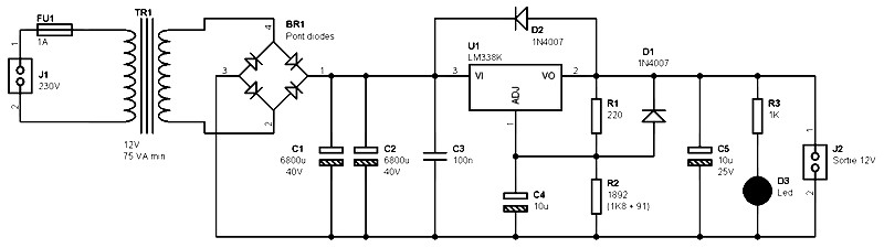 single output power supply 12v 5a based on lm338 power supply circuits [ 1280 x 720 Pixel ]
