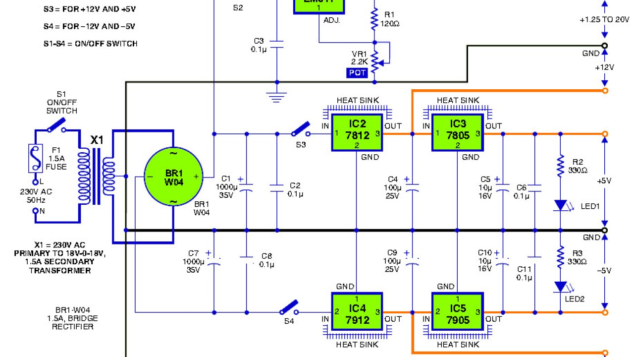 hight resolution of triple output dc power supply