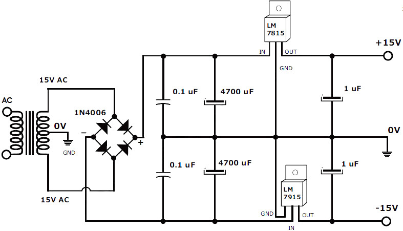 5v symmetrical regulated power supply 1a