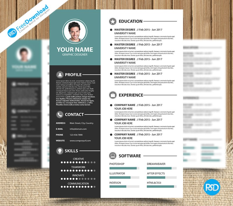 Modern Simple Resume Template PSD PSD Free Download
