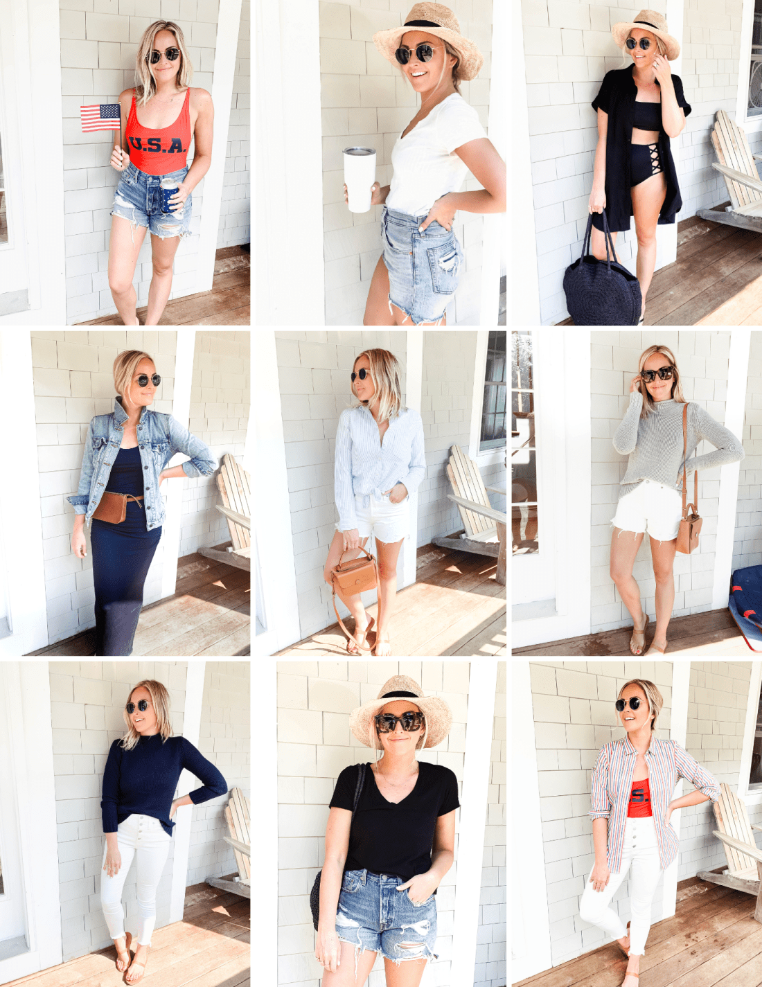 Maine Vacation Outfit Recap Red White Denim