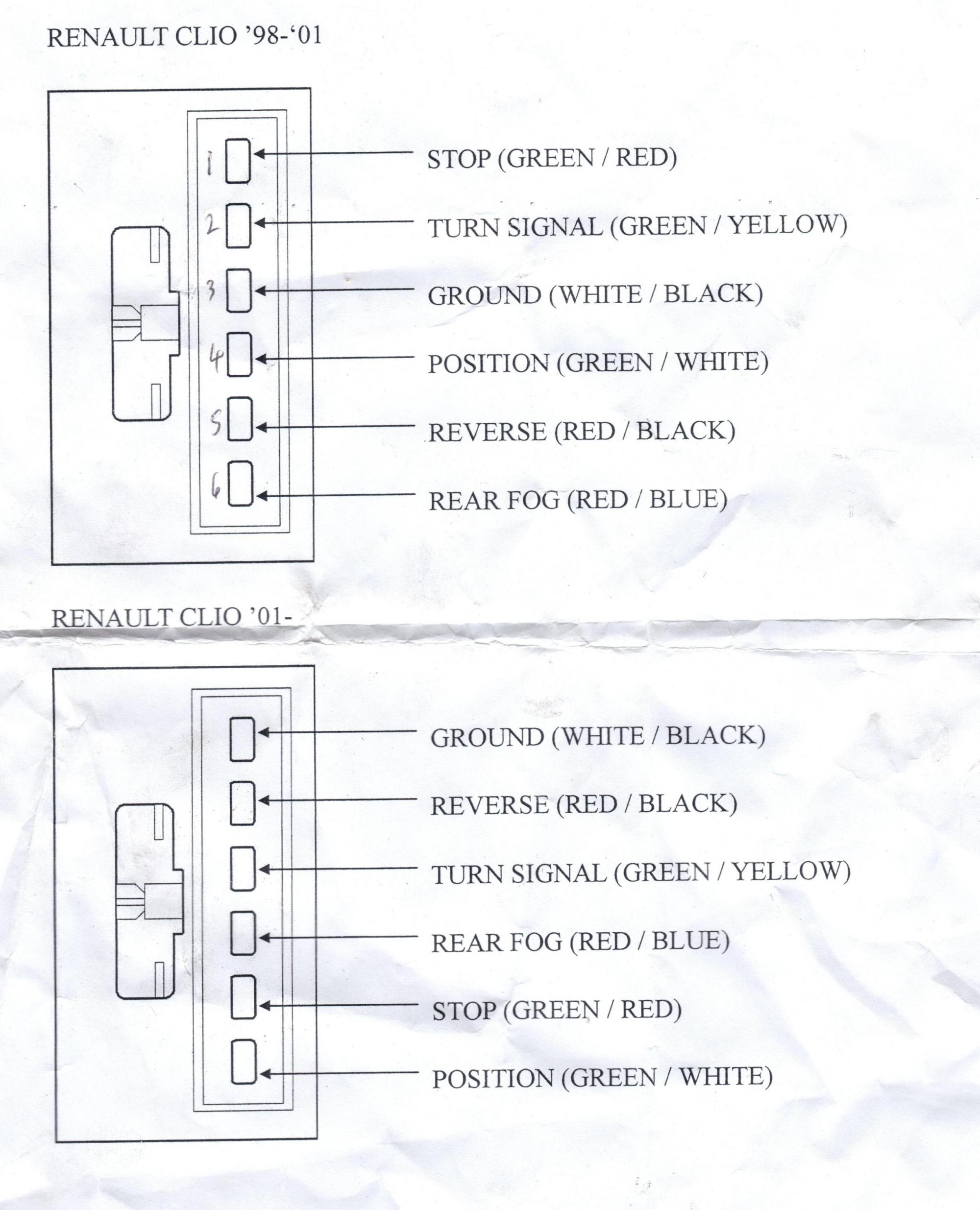 hight resolution of hight resolution of clio mk2 rear light wiring colours plug layout cliosport net renault clio mk2