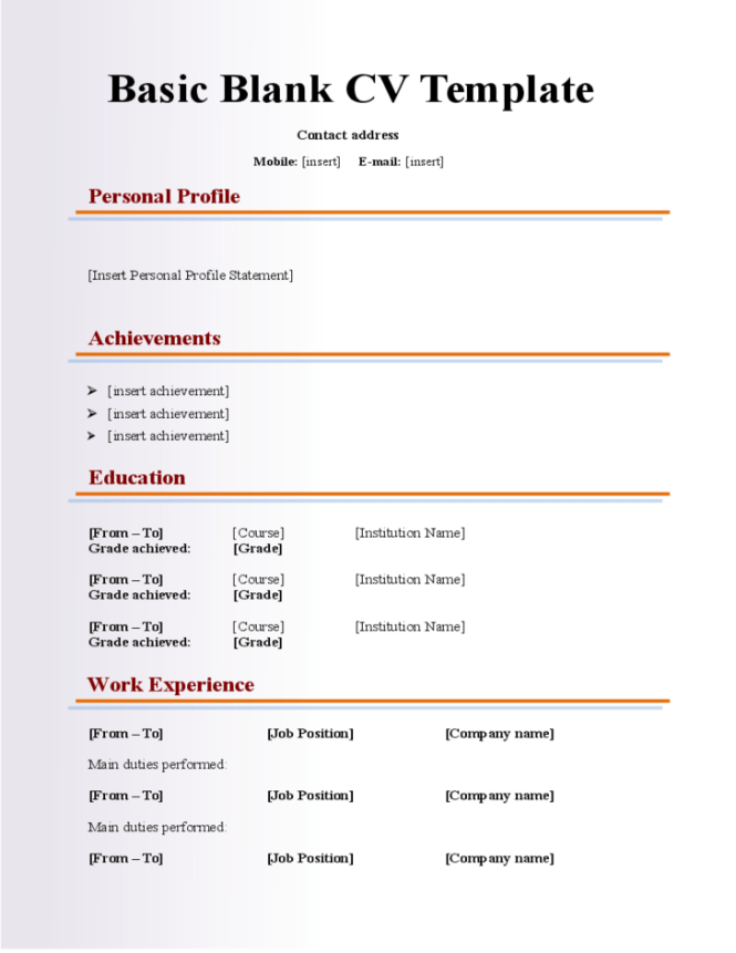 Resume Fill Out Form  Resume Sample
