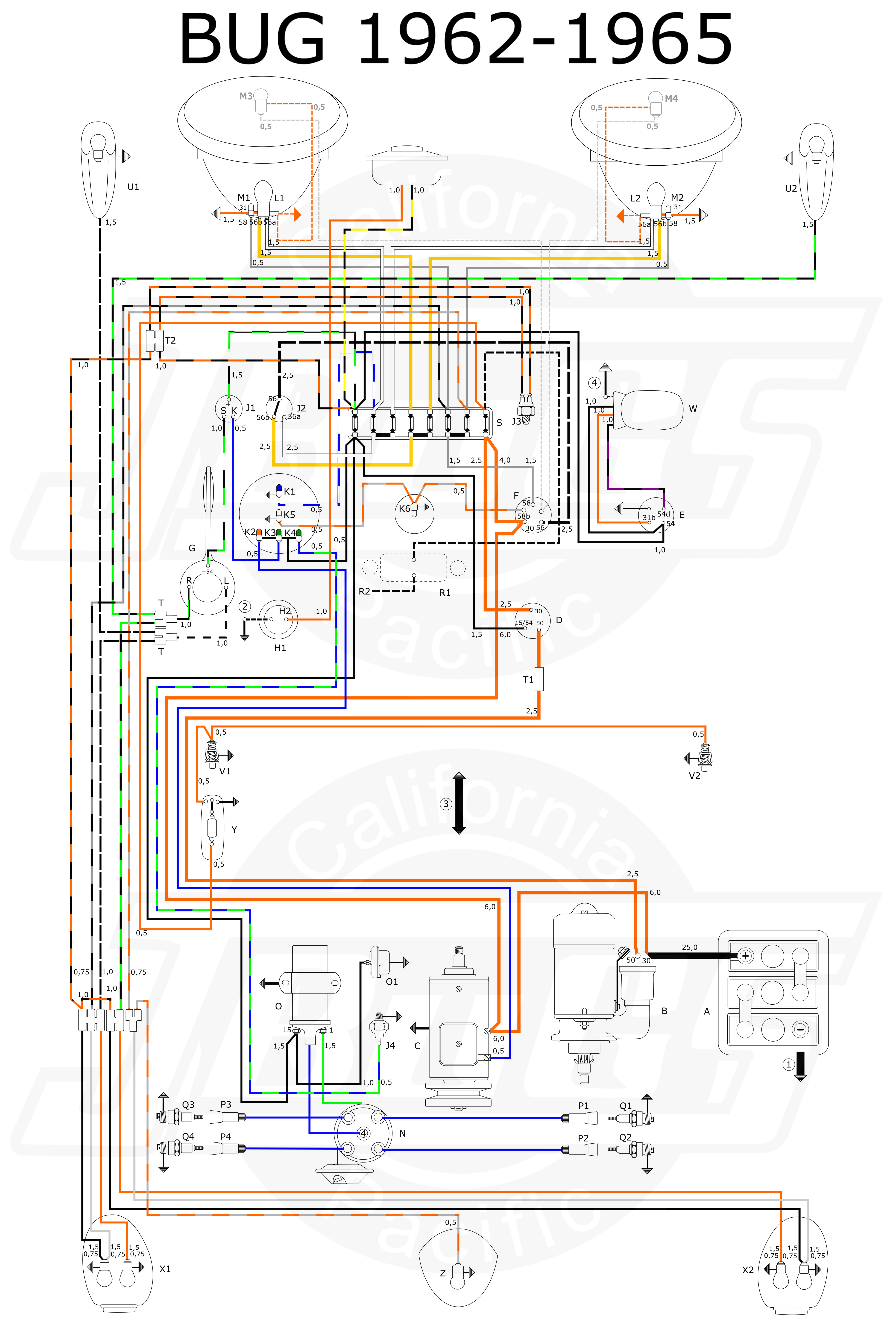 small resolution of wiring diagram in color 1964 vw bug beetle convertible the wiringwiring diagram in color 1964 vw