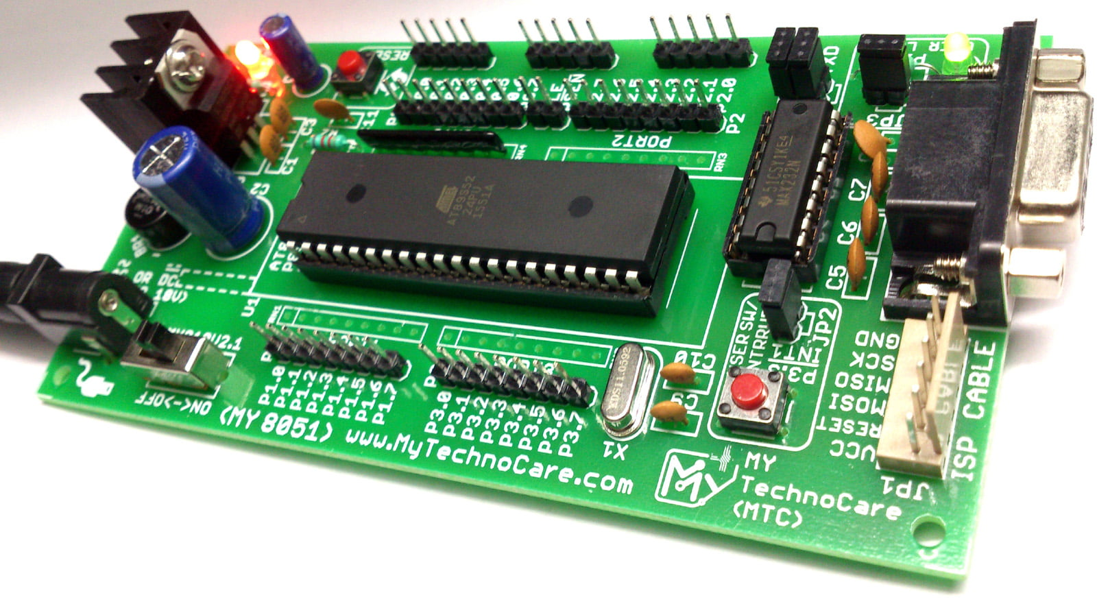 buy atmel 8051 microcontroller project low cost development board with max232 at89s52 ic support at89s51 [ 1600 x 881 Pixel ]