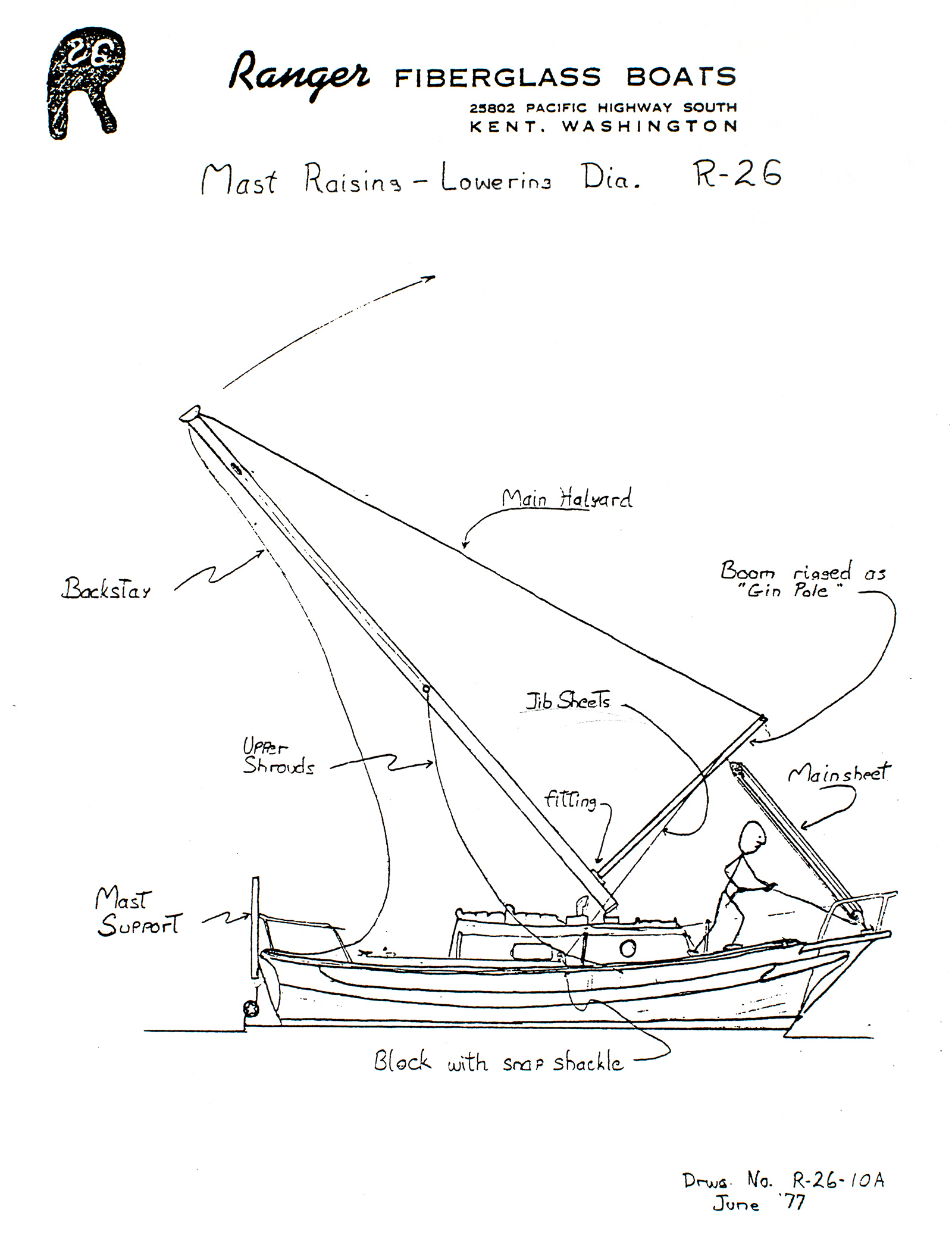mast raising lowering diagram for the ranger 26 sailboat kent washington  [ 1600 x 2100 Pixel ]