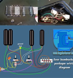 four humbuckers pickup wiring diagram all hotrails and quadrail [ 2480 x 2371 Pixel ]