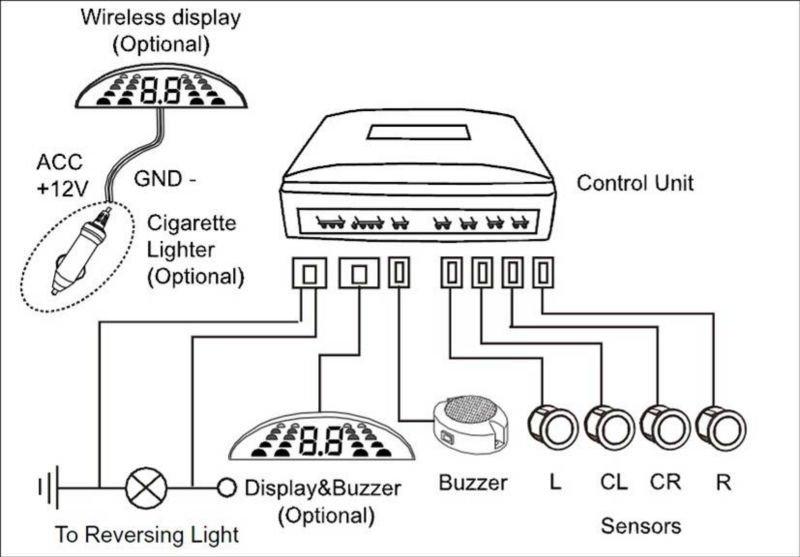 Rear Parking Sensor System With Buz01,