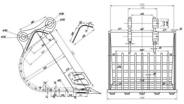 China Mini Excavator Volvo/ Hitachi/ Kobelco Bucket For
