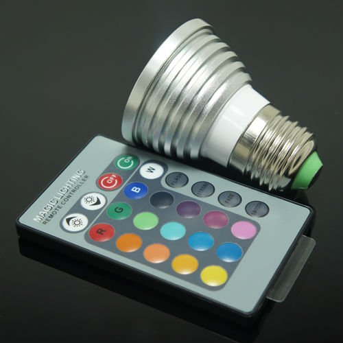 AC 90~240V 3W E27 RGB LED Bulb Lamp 16 Color changing led Spot light with Remote Control ES00065 free shipping