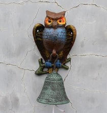 European Style Ancient Rural Rustic Wrought Iron Owl Dinner Bell Welcome Customers Door Garden Wall Mounted