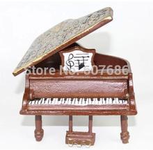 Replica Cast Iron Rustic Piano Statuette Statue Miniature Grand Piano Figurine Musical Instrument Home Bar Pub