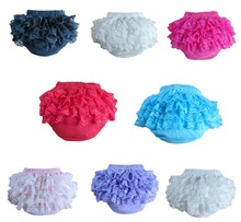 Baby Cotton Ruffle Bloomers Layers Baby Diaper Cover Newborn Flower Lace Shorts Toddler Cute Summer Pants