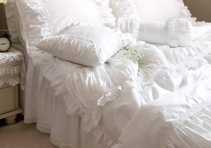 White Ruffle Bedding Queen
